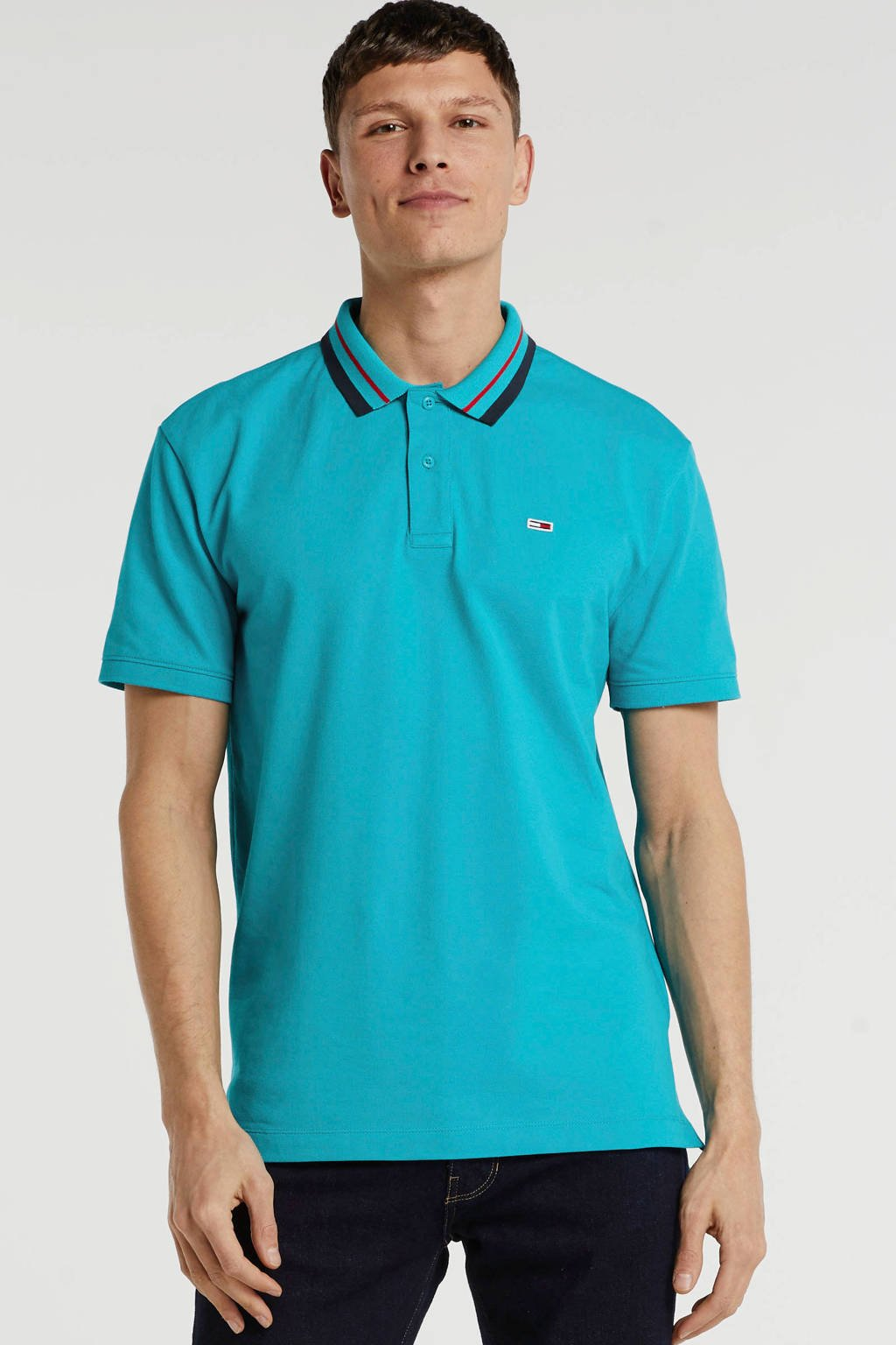 Tommy Jeans regular fit polo turquoise, Turquoise