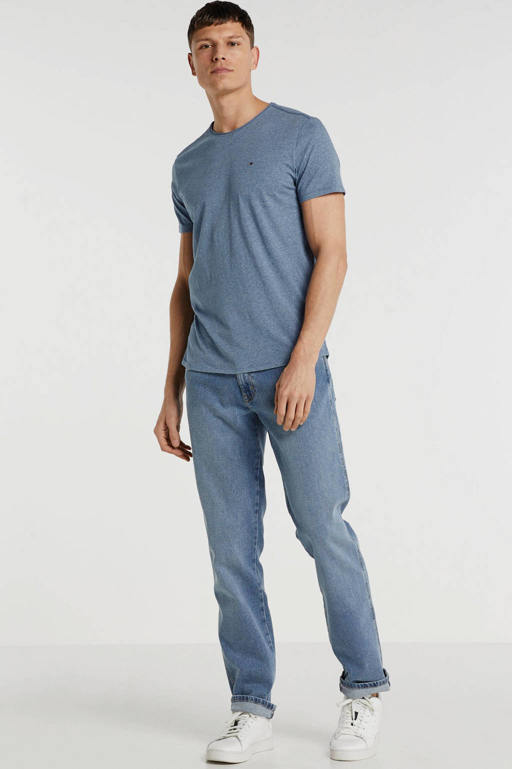 Tommy Jeans T-shirt met logo blauw, Blauw