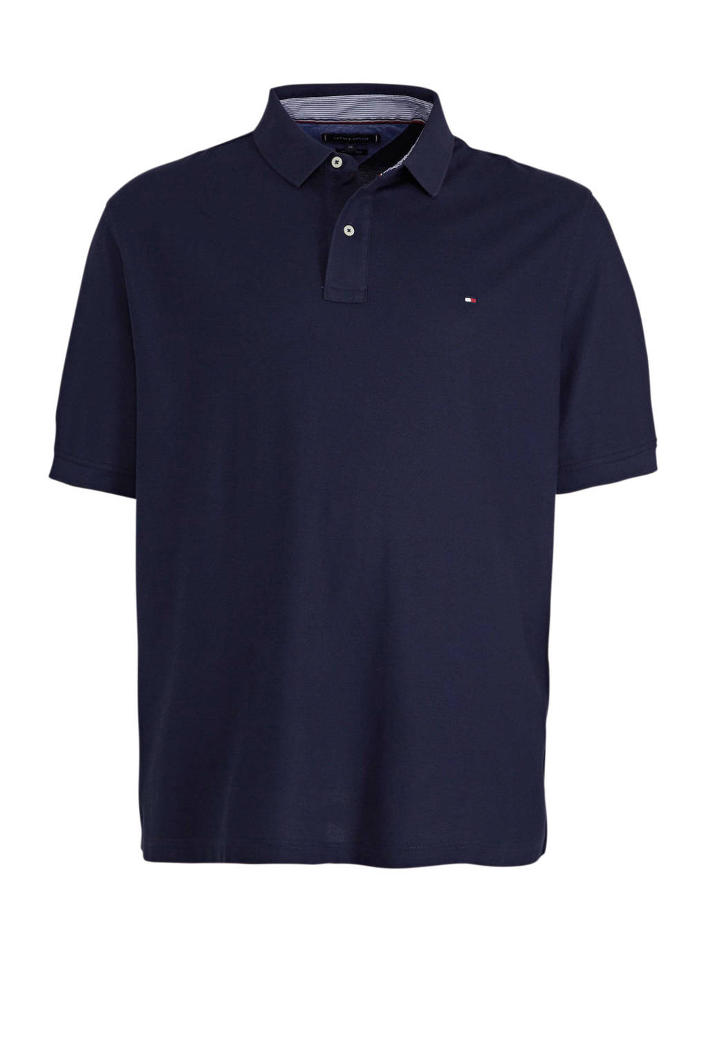 Tommy Hilfiger Big & Tall +size regular fit polo donkerblauw, Donkerblauw