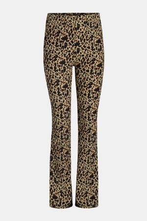 high waist flared broek Ribby met panterprint bruin/zwart/oranje