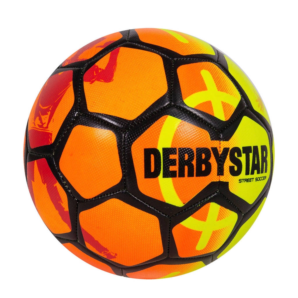 Derbystar   voetbal oranje/geel/zwart maat 5, Oranje/geel/zwart