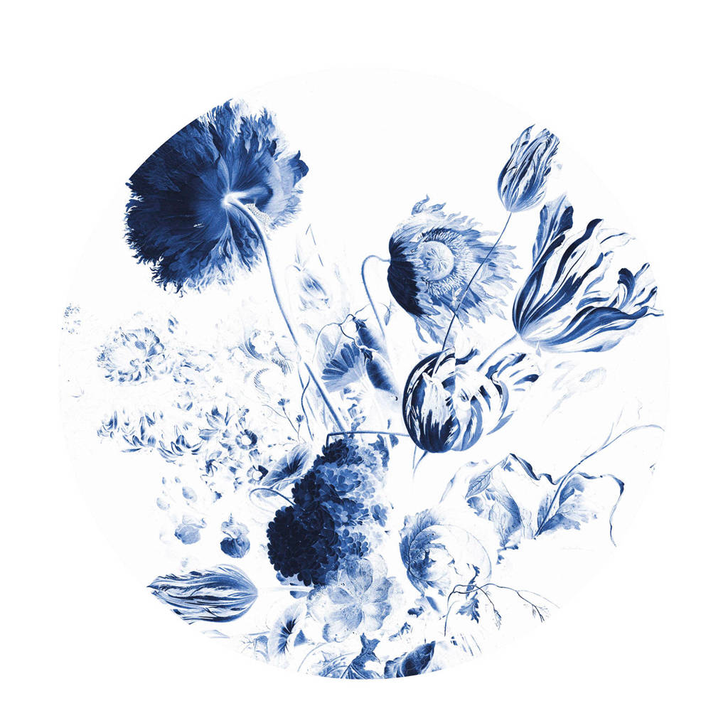 KEK Amsterdam behangcirkel Royal Blue Flowers (ø142.5 cm), Blauw