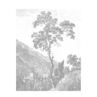 KEK Amsterdam behangpaneel Engraved Tree (142.5x180 cm), Wit