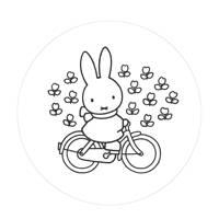 KEK Amsterdam behangcirkel Nijntje op de fiets (ø190 cm)  ( cm), Wit