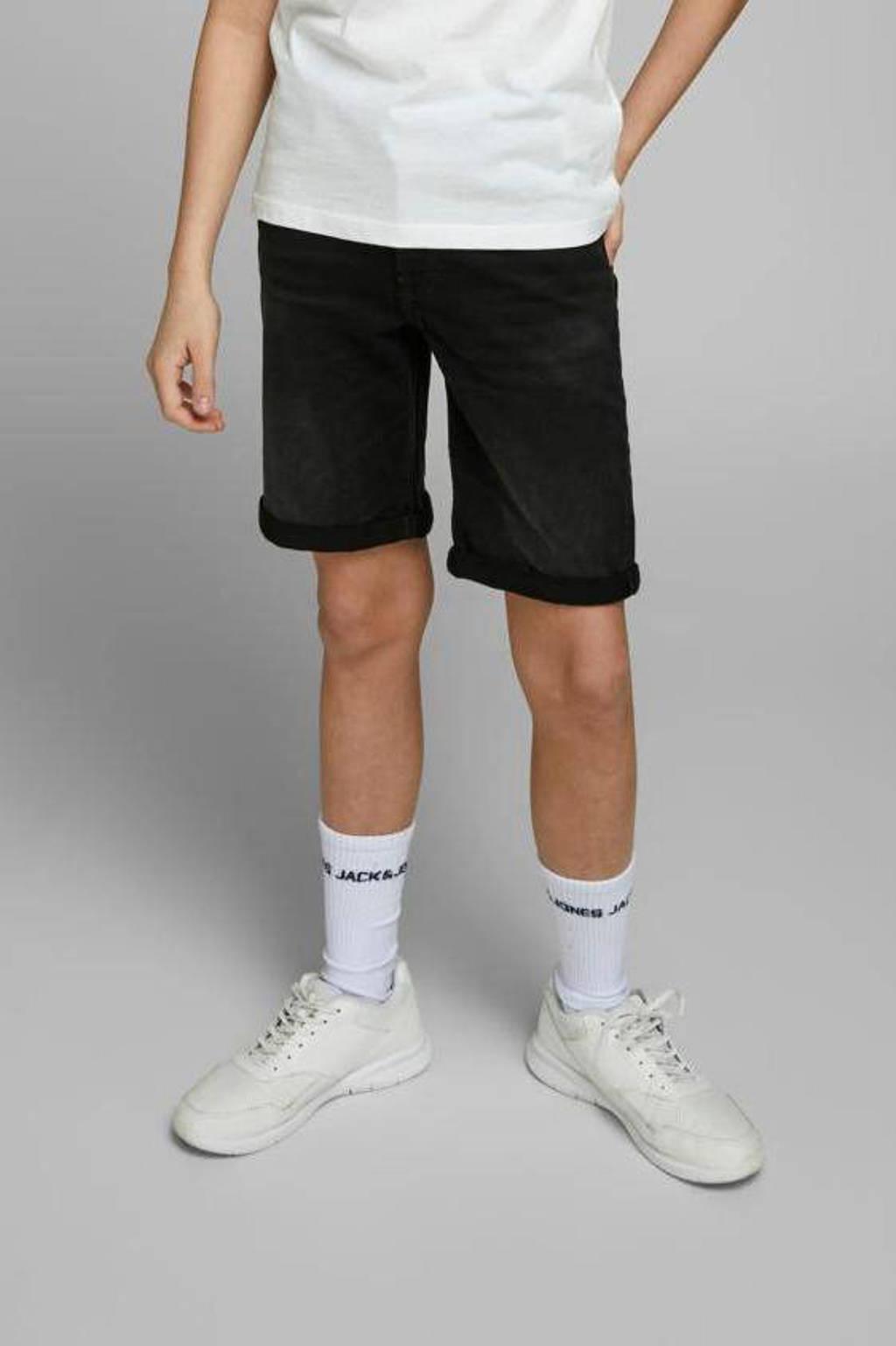 JACK & JONES JUNIOR jeans bermuda Rick zwart, Zwart