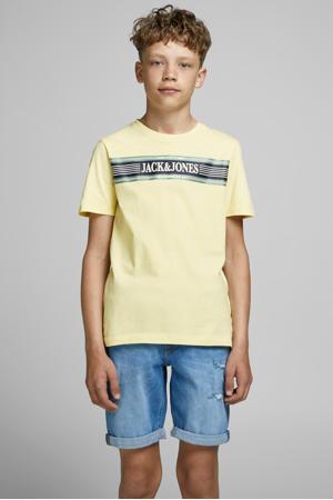 T-shirt Anthony met printopdruk lichtgeel