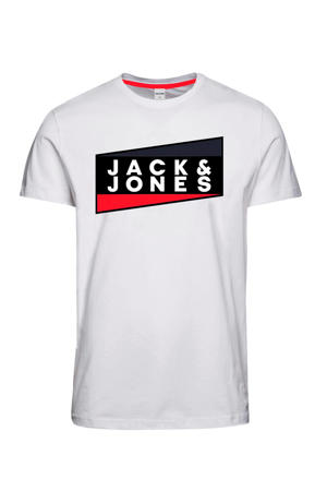 T-shirt met logo wit/zwart/rood