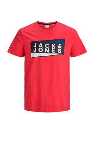 T-shirt met logo rood/zwart/wit