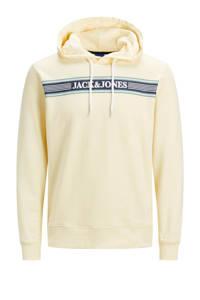 JACK & JONES JUNIOR hoodie met logo ecru/donkerblauw/wit, Ecru/donkerblauw/wit