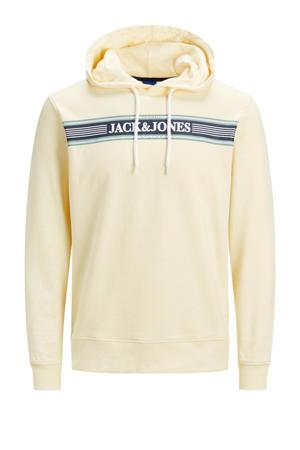 hoodie met logo ecru/donkerblauw/wit