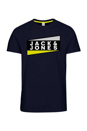 T-shirt met logo zwart/wit/geel