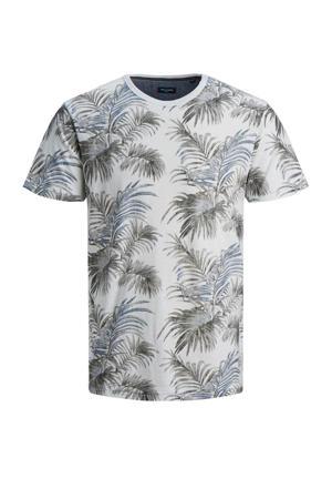 T-shirt Max met all over print antraciet/blauw