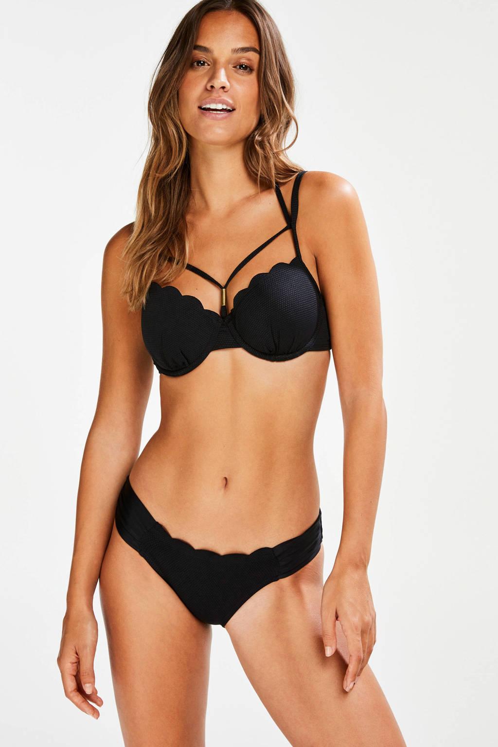 Hunkemöller bikinibroekje Scallop Glam met schulprand zwart, Zwart