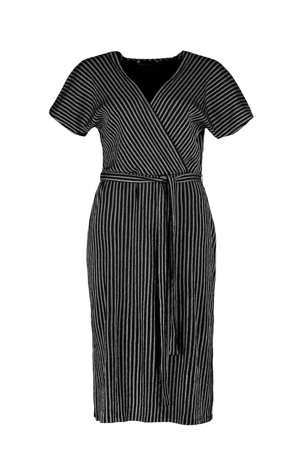 Expresso gestreepte jersey jurk zwart, Zwart