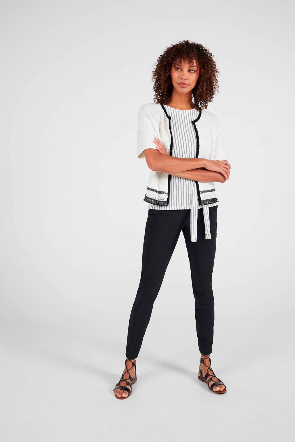 Expresso gestreepte top wit/zwart, Wit/zwart