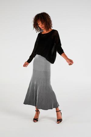 gestreepte plissé rok zwart/wit