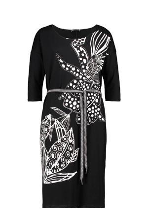 jersey jurk met printopdruk en ceintuur zwart