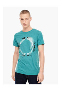 Q/S designed by T-shirt met printopdruk turquoise, Turquoise