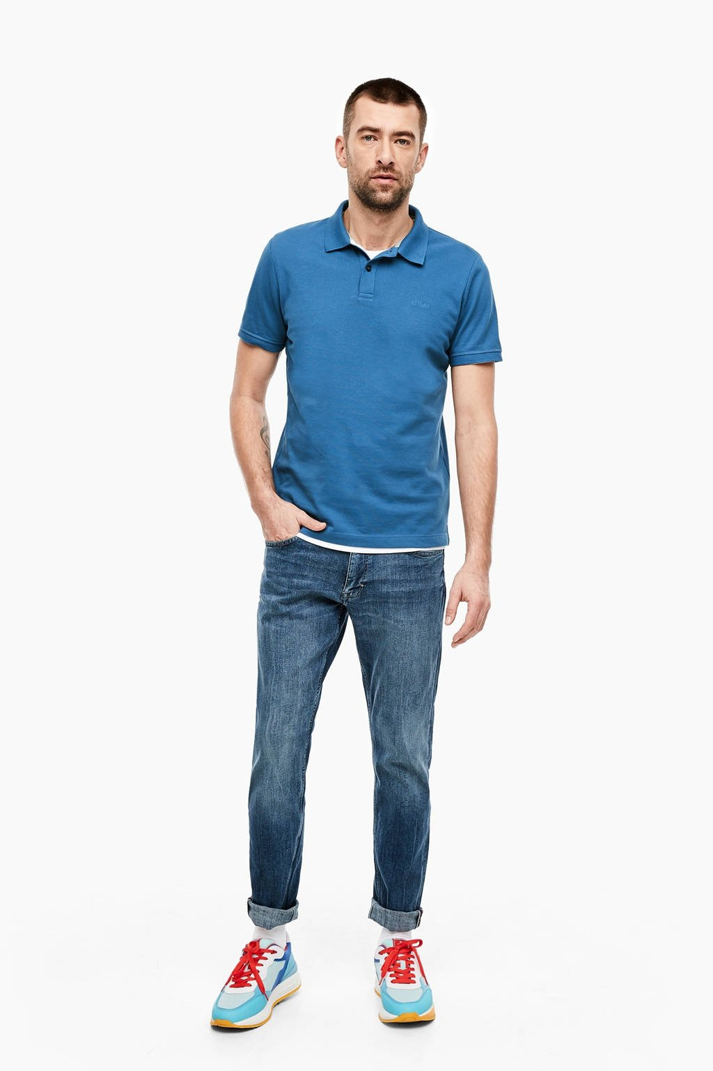 s.Oliver regular  fit polo blauw, Blauw