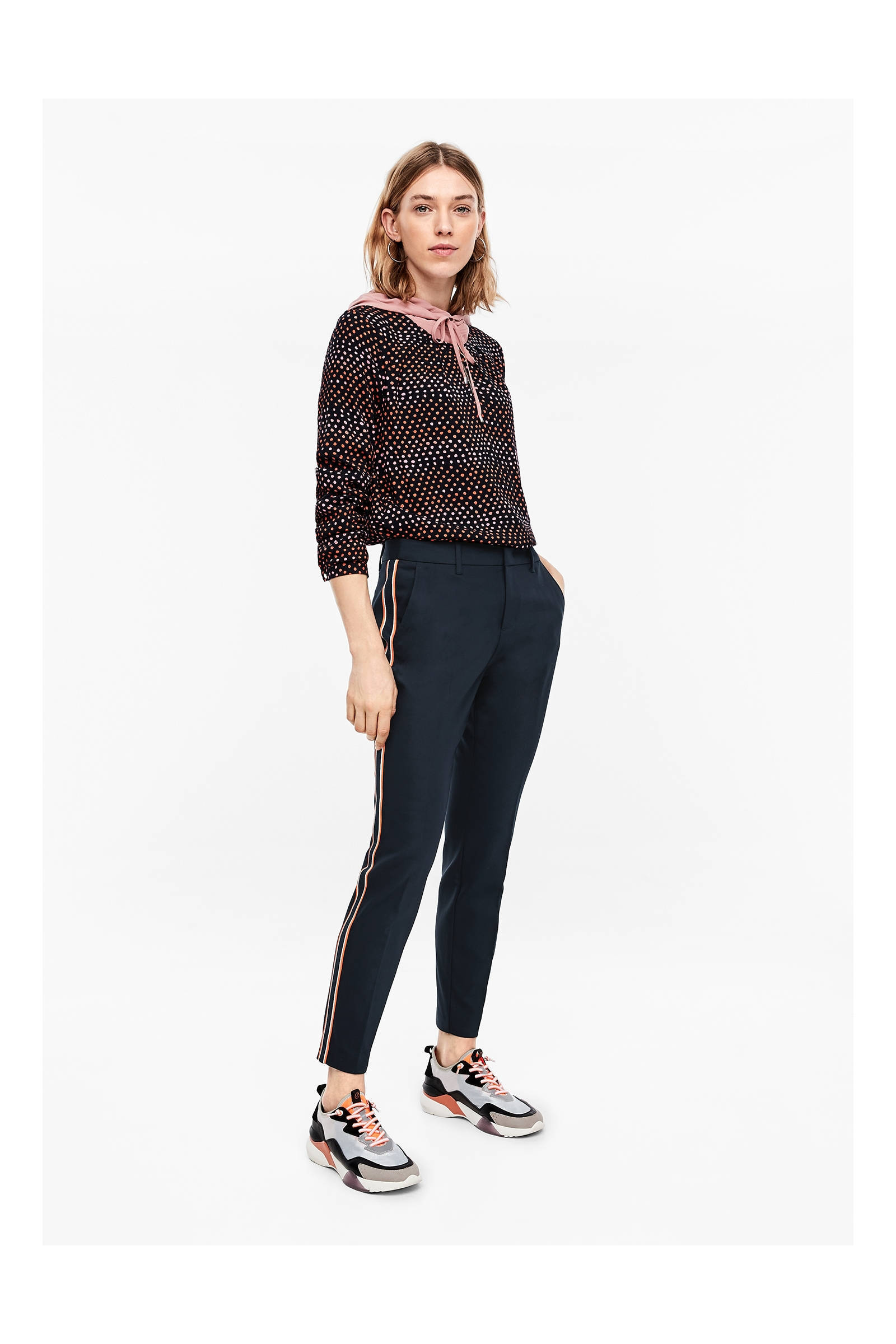 S.oliver Slim Fit Pantalon Met Zijstreep Marine/multi gelgbqis