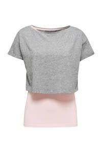 ESPRIT Women Sports 2-in-1 sport T-shirt grijs/lichtroze, Grijs/lichtroze