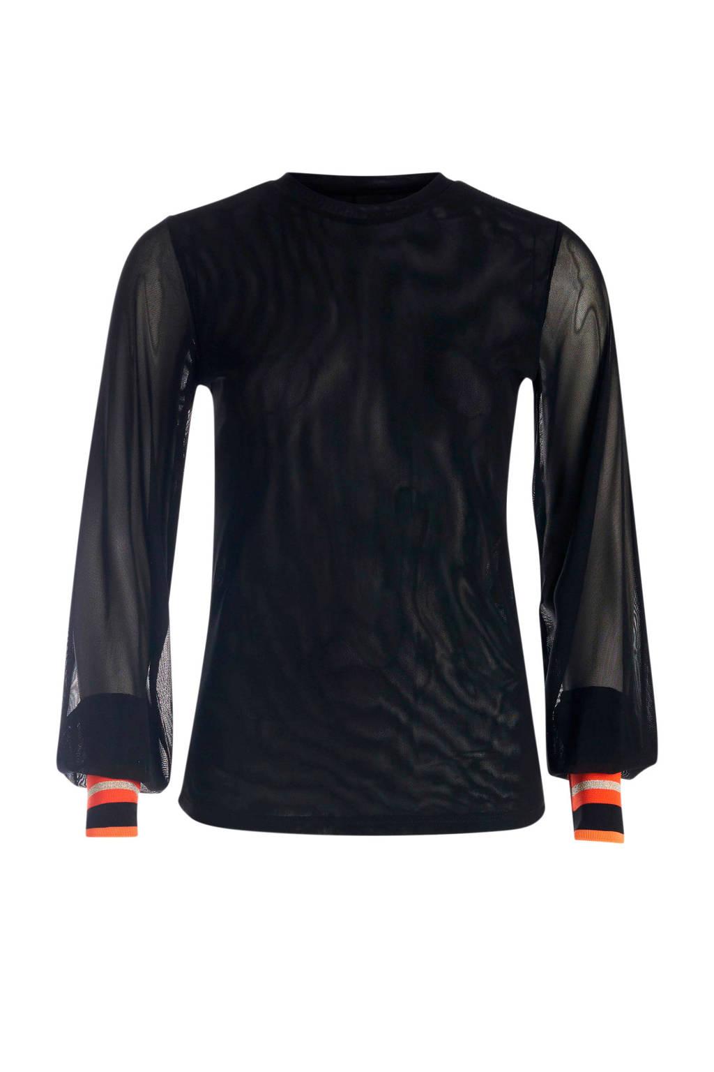 Eksept semi-transparante top met mesh zwart, Zwart
