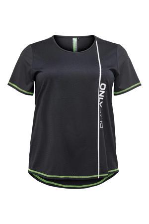 sport T-shirt zwart/limegroen