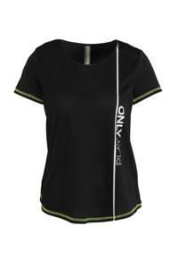 ONLY PLAY sport t-shirt zwart/limegroen, Zwart/limegroen