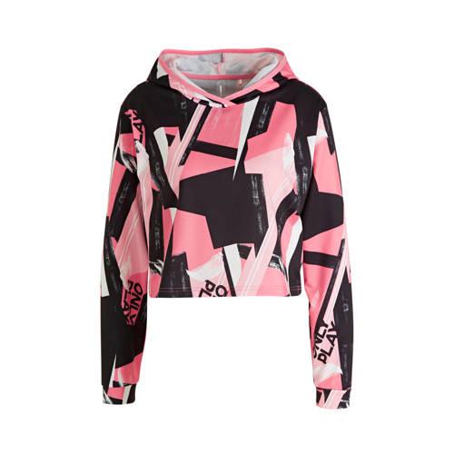 ONLY PLAY cropped sportsweater zwart/roze