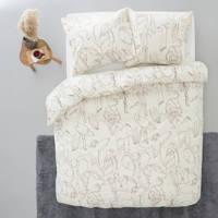 Wehkamp Home katoenen dekbedovertrek lits-jumeaux, Bruin/wit, Lits-jumeaux (240 cm breed)