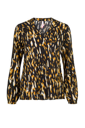 top met all over print zwart/bruin