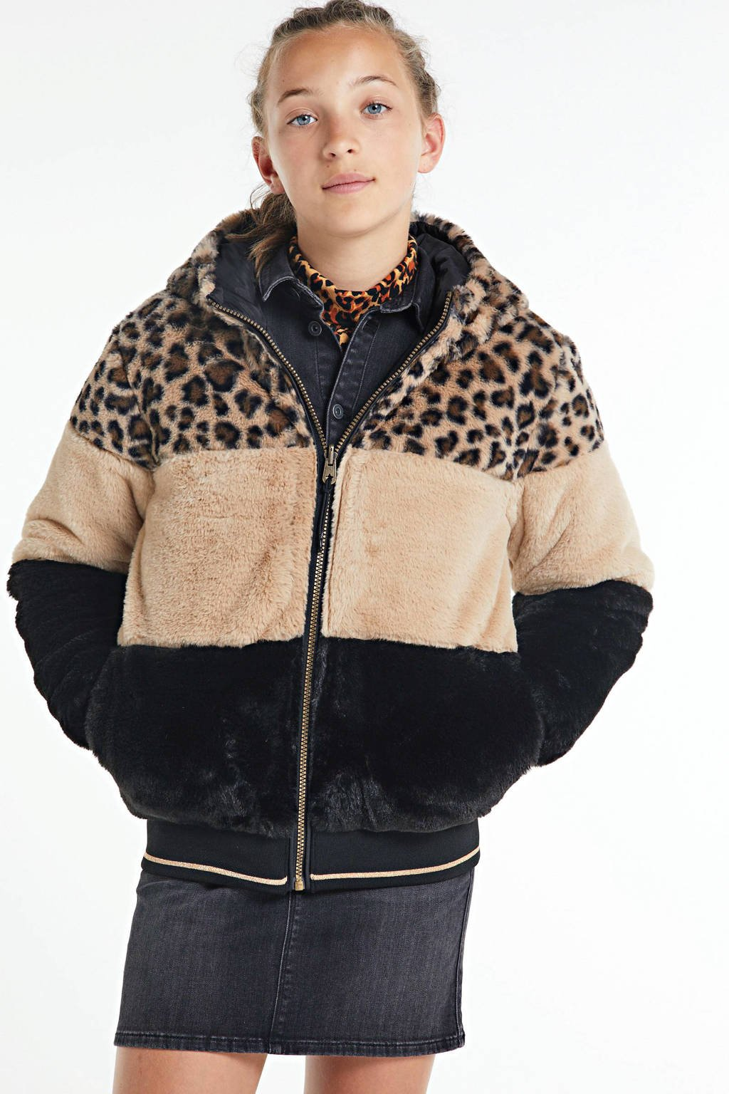 WE Fashion reversible imitatiebont winterjas met panterprint zwart/bruin, Zwart/bruin