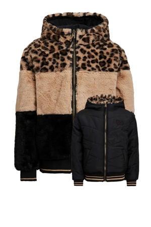 reversible winterjas met panterprint zwart/bruin