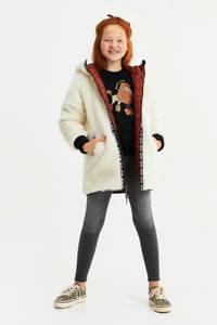WE Fashion reversible parka van imitatiebont ecru/rood/zwart, Ecru/rood/zwart