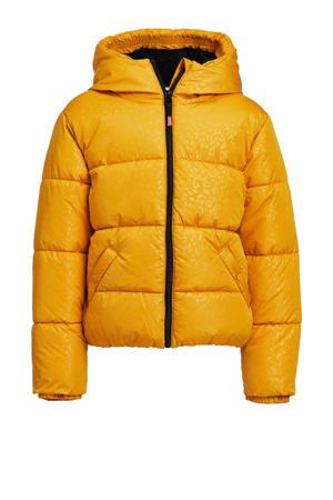 gewatteerde winterjas met panterprint geel