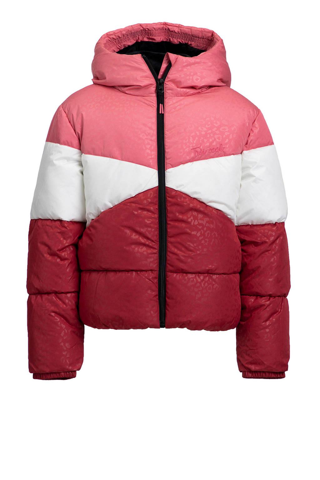 WE Fashion gewatteerde winterjas rood/roze/wit, Rood/roze/wit