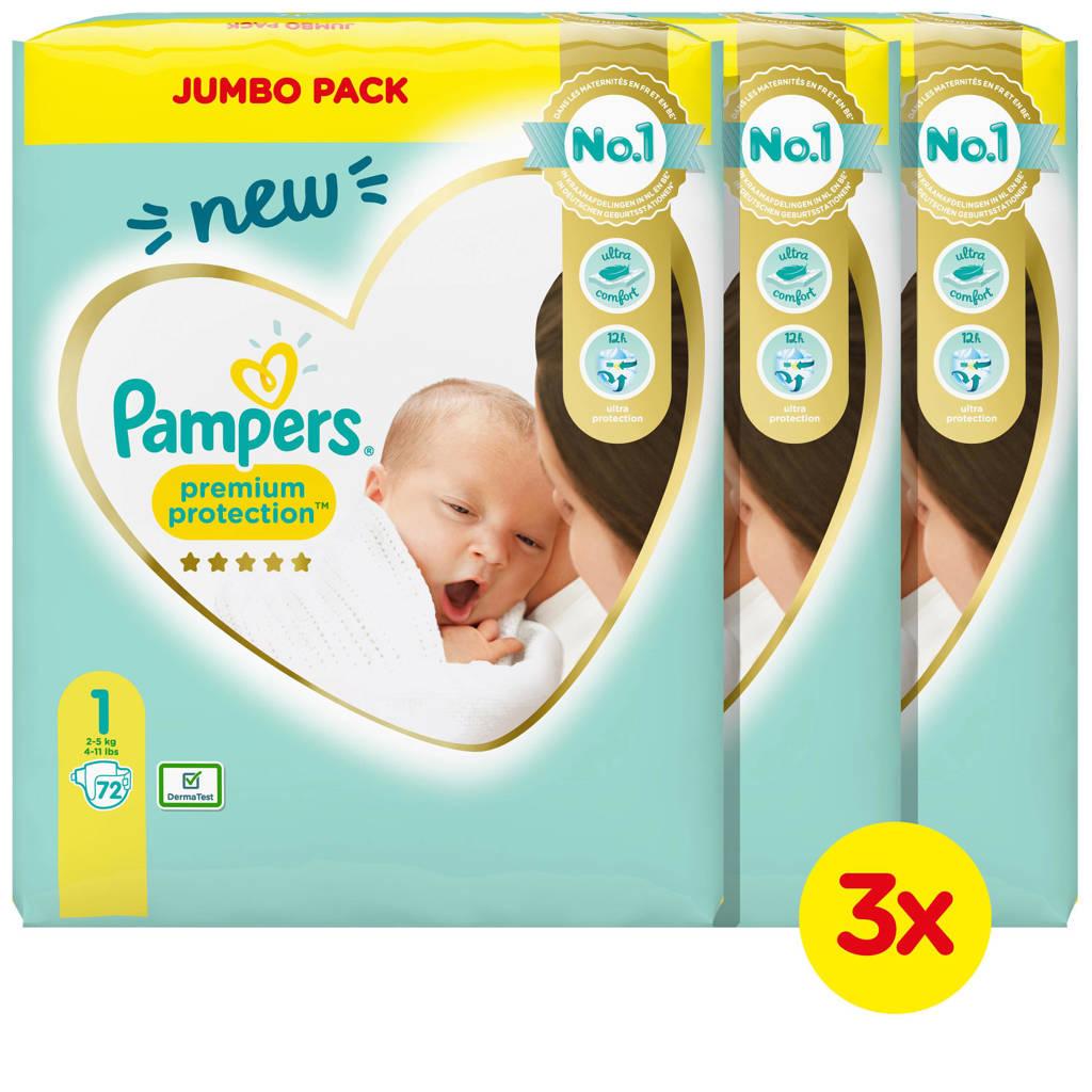 Pampers Premium Protection Maat 1 (2-5kg) 216 Luiers, 1 (2-5 kg)