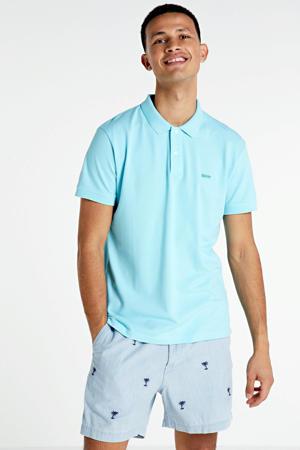 slim fit sweatshort met all over print blauw