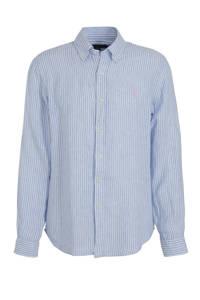 POLO Ralph Lauren gestreept linnen slim fit overhemd 3334a blue/white, 3334A Blue/White