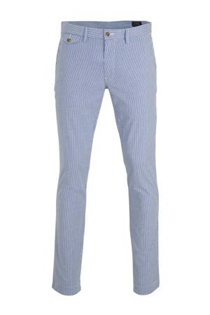 gestreepte slim fit pantalon blauw/wit