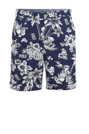 slim fit bermuda met all over print blauw