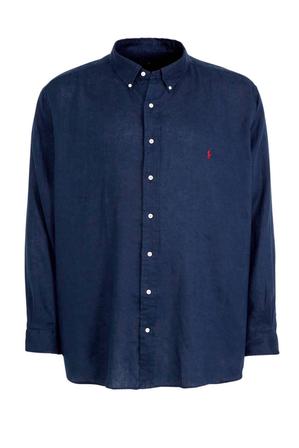 POLO Ralph Lauren Big & Tall +size linnen regular fit overhemd donkerblauw, Donkerblauw