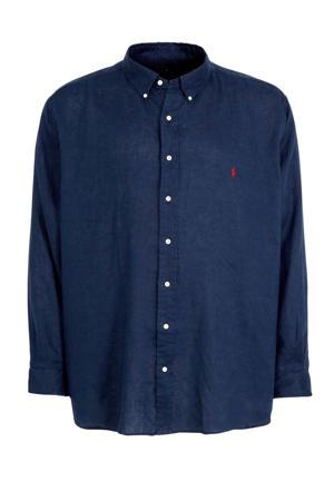 +size linnen regular fit overhemd donkerblauw