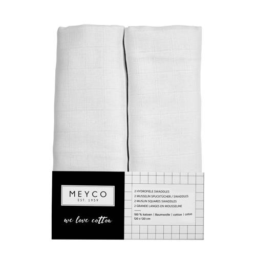 Meyco hydrofiele wikkeldoeken set van 2 wit
