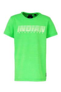 Indian Blue Jeans T-shirt met tekst groen/wit, Groen/wit