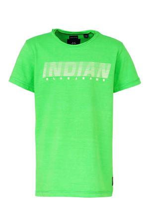 T-shirt met tekst groen/wit