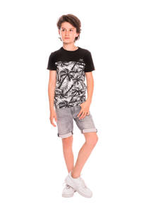 Indian Blue Jeans T-shirt met all over print zwart/wit, Zwart/wit