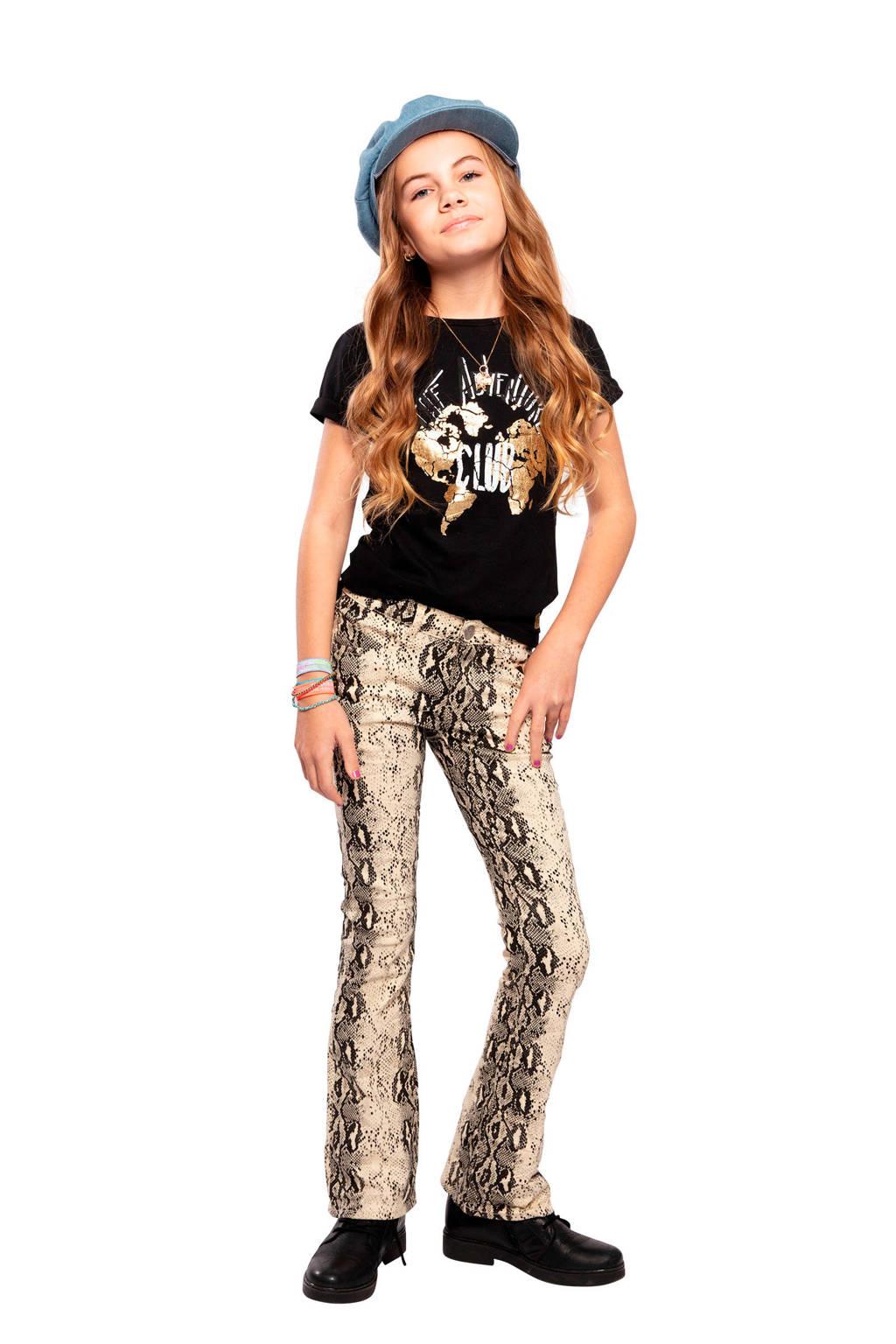 Indian Blue Jeans T-shirt met printopdruk zwart/wit/goud, Zwart/wit/goud