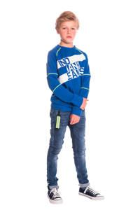 Indian Blue Jeans sweater met tekst blauw/wit/geel, Blauw/wit/groen