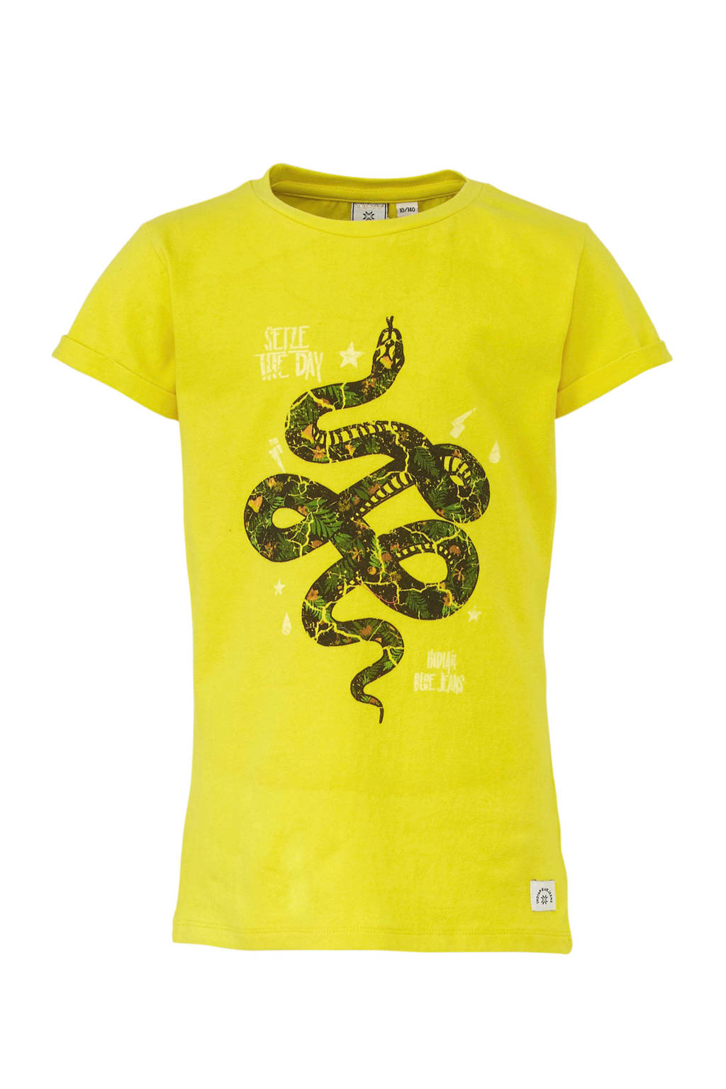 Indian Blue Jeans T-shirt met printopdruk geel/zwart, Geel/zwart